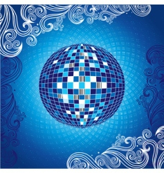 Background with blue disco ball vector