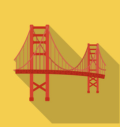 Golden gate bridge icon in flate style isolated on vector