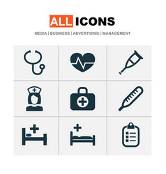 Antibiotic icons set collection of surgical bag vector
