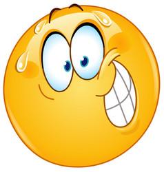 nervous smile emoticon vector image
