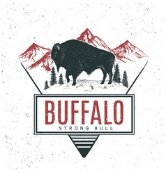 Old retro logo with bull buffalo vector
