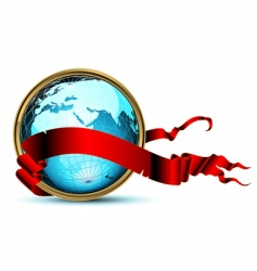 World with ribbon vector
