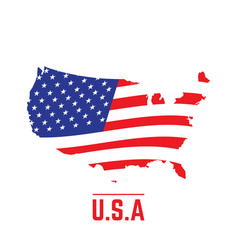 Flag and map of the united states vector