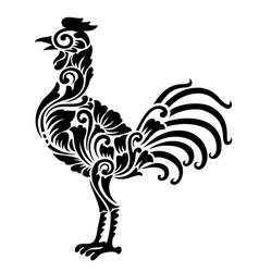 Rooster floral ornament decoration vector