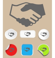 Handshake icon with stickers vector