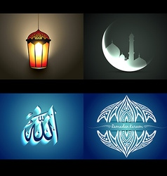 Set of attractive background of ramdan kareem vector