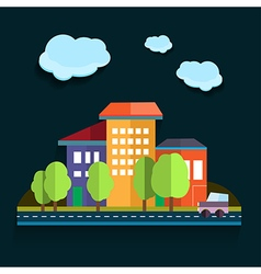 Urban landscape color flat design vector