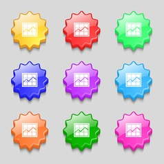 Chart icon sign symbol on nine wavy colourful vector