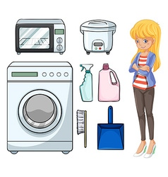 Woman and household objects vector