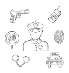 Policeman in uniform with sketched police icons vector