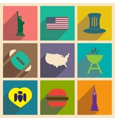 Set of flat icons with long shadow american vector