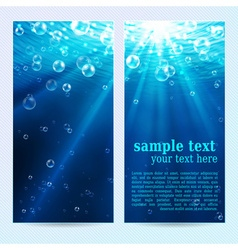 Set of underwater vertical banners vector