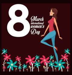 8 march womens day card girl cheerful vector