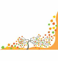 Tree with falling leaves vector