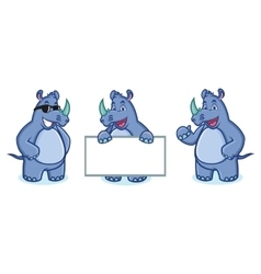 Blue rhino mascot happy vector