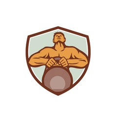 Athlete weightlifter lifting kettlebell crest vector