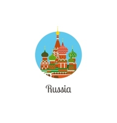 Russia cathedral landmark isolated round icon vector