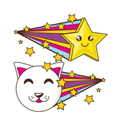 Adorable little cat with smile star vector