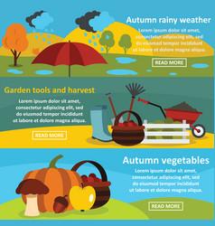 Autumn garden banner horizontal set flat style vector