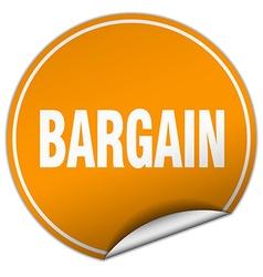 Bargain round orange sticker isolated on white vector