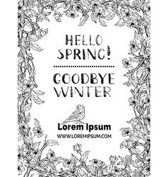 Black and white spring frame vector image