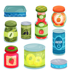 Canned goods tinned food in a cans glass jars vector