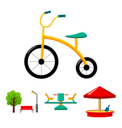Carousel sandbox park tricycle playground set vector
