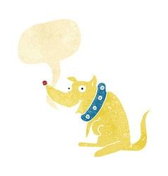 Cartoon happy dog in big collar with speech bubble vector