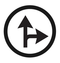 compulsory ahead or right sign line icon vector image