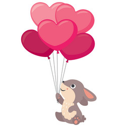 cute little rabbit holding heart shaped balloons vector image vector image