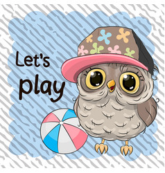 cute owl with a ball vector image vector image