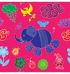 decorative elephant pattern vector image vector image