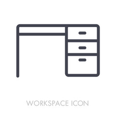 desk outline icon workspace sign vector image vector image