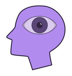 eye inside human head icon cartoon style vector image