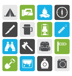 Flat tourism and hiking icons vector