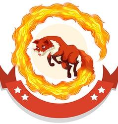 Fox jumping through fire hoop vector