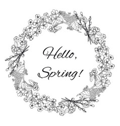 Hand drawn spring floral wreath template vector