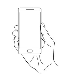 hand holding a smart phone vertically vector image