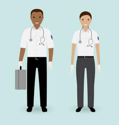hospital staff concept paramedics ambulance team vector image vector image
