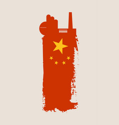 isolated factory icon and grunge brush china flag vector image