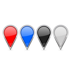 Location pin icons colored set with chrome frame vector