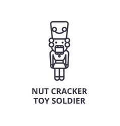 Nut cracker toy soldier line icon outline sign vector