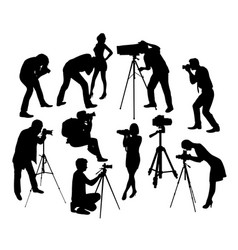 photographer professional and model silhouettes vector image vector image
