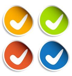 Positive checkmark stickers vector