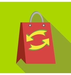 Red paper shopping bag with refresh arrows icon vector image vector image