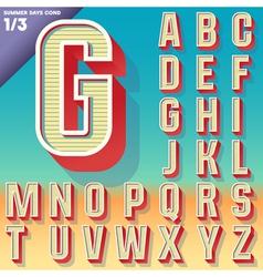 Retro alphabet for summer typography design vector