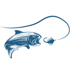 salmon fish and lure design template vector image vector image