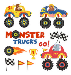 Set of isolated monster trucks with animals part 2 vector