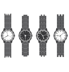 Set wristwatch with bracelet vector image vector image