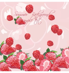 Summer background with red berries vector